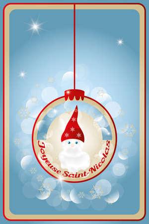 saint nicholas: Ilustraci�n de San Nicol�s Sankt Nikolaus con el texto franc�s feliz del St Nick - en el interior de la decoraci�n de navidad bola Vectores