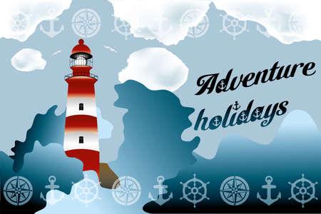 coastline: Lighthouse on unsteady coastline - Adventure holidays background illustration