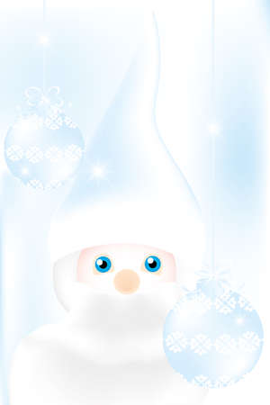mister: Mister Frost - beautiful illustration in cold-blue with man and Christmas baubles on frosty background