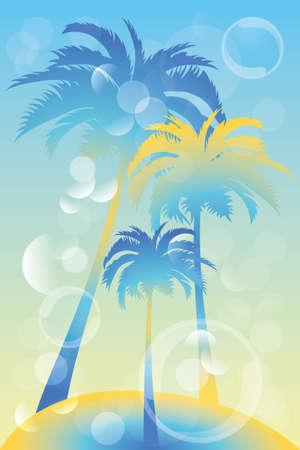 Tropisch eiland - illustratie met palmbomen en bellen