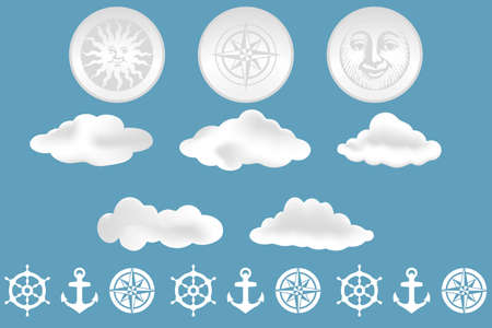 colo: clouds and nautical design elements isolated on blue background - vector and as jpg-file available