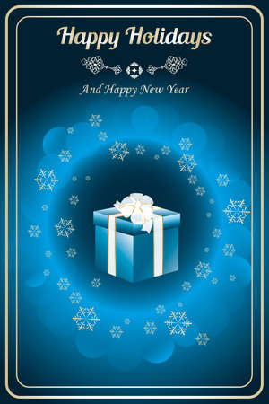 happy holidays card: Happy holidays card with giftbox, golden shiny snowflakes and bubbles on deep blue background - vector and available as jpg-file Illustration