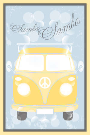 Samba bus retro poster Illustration