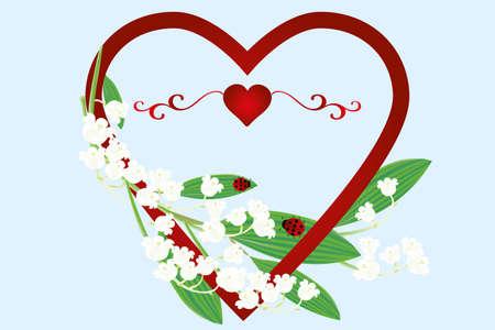 Mooie kaart met hart, liekies van de vallei bloemen en lieveheersbeestjes