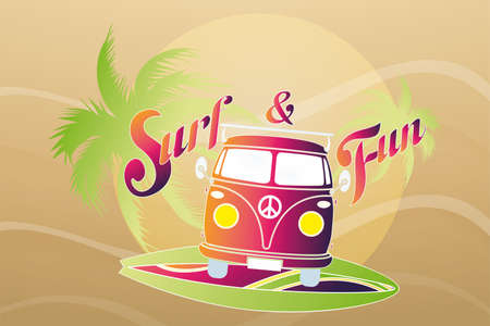 buss: illustration of surf retro travel van  Illustration