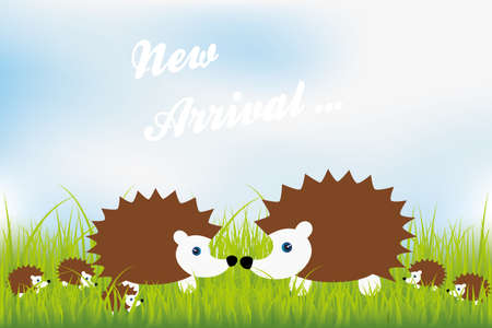 cartoon hedgehog: New arrival - cute hedgehog family in green grass illustration - available as jpg and eps-file