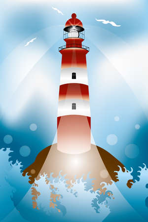 robust: Rock with lighthouse and waves illustration
