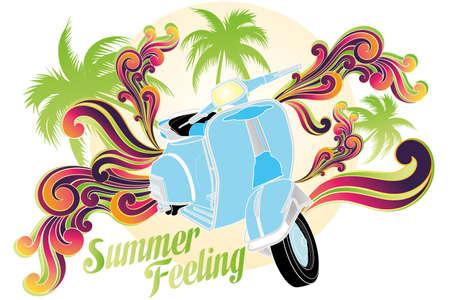 motobike: Retro illustration (isolated on white) of motobike with palms, sun and colorful swirls