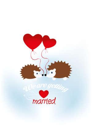 """pareja de esposos: Los erizos con los globos del corazón y el texto """"Nos vamos a casar"""" - disponible en formato JPG y del EPS-archivo"""