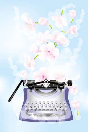 classic authors: Fantasy retro typewriter with cherry blossoms on light-blue background - jpg and eps file available