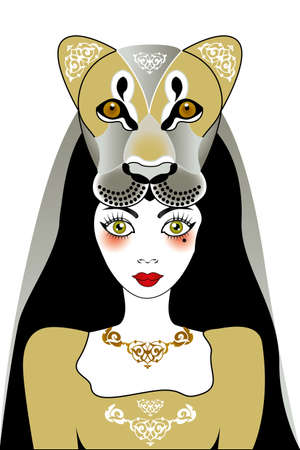 fortune cat: Beautiful green-eyed girl with part of lions head - fantasy unique illustration available as eps and jpg Illustration