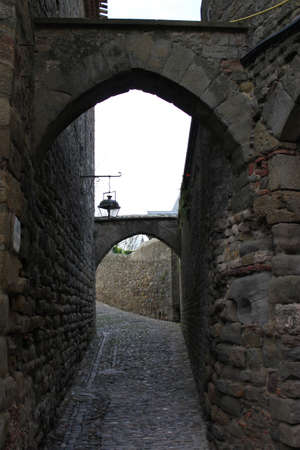 spain: View of stone alley in Carcassonne Editorial