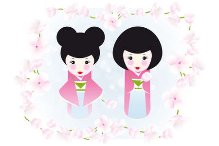 yukata: Kokeshi dolls and cherry blossoms - cute illustration of two wooden dolls framed by cherry blossoms