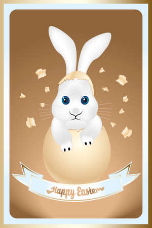 eggshell: Happy Easter card with cute bunny in broken eggshell and slogan Happy Easter on lightblue banner