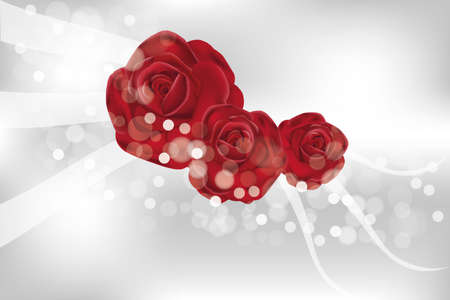 fab: rose flowers with translucent shimmering waves and bubbles Illustration