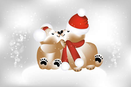christmas cute: Adorable teddies on Christmas with snow flakes - illustration
