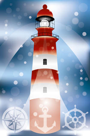 searchlights: Poster with lighthouse illustration, searchlights, bubbles in front of ocean and marine symbols Illustration