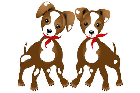 Illustration of two true friends - Jack Russell - isolated on white background without text Illustration