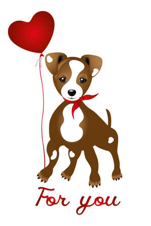 Cute Jack Russell with heart balloon and words - for you Illustration
