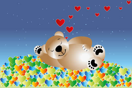 Sleeping teddy bear in bed of hearts under the sky with stars.