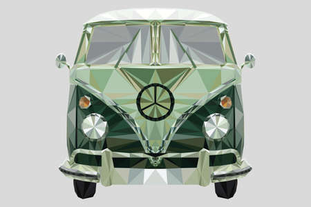 Low-poly in triangles of a camper van - Splitty - unique artwork Illustration