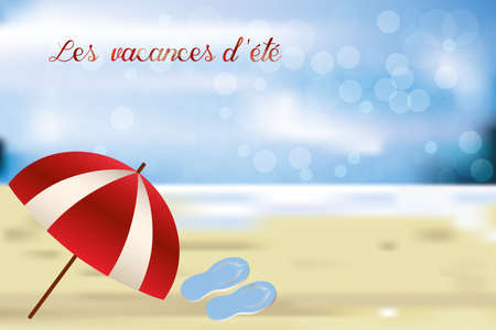 Parasol and beach slippers on retro beach with blue ocean and sky and french words for summer vacation
