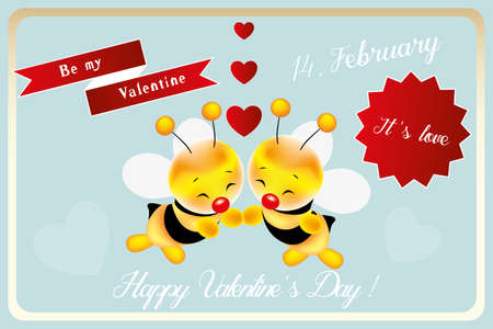 Be my valentine little bee - card for Valentines Day with hand drawn smiling bees, hearts and various love messages Illustration