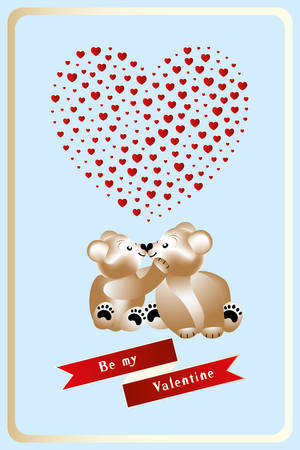 Illustration for Valentines Day with two cuddling teddies in love, heart with hearts inside and banner with words, Be my Valentine