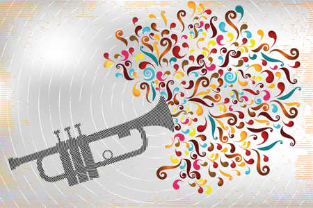 Retro illustration of jazz trumpet in stamp design with colorful swirls on interesting designed background