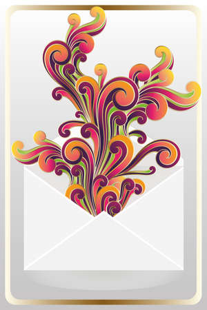 Abstract artwork of colorful greetings message without text