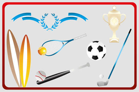 Isolated various sport equipments in retro design - Surfboards, football, golf, baseball and tennis