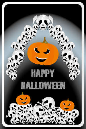 Scary illustration of bad pumpkins with skulls and bones and chalk letters for Happy Halloween Illustration