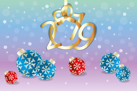 3D illustration of baubles and 2019 for Christmas above background in rainbow colors with shining stars and lightful translucent circles