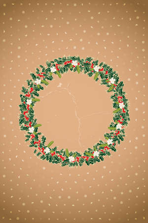 Retro Advent wreath made by branches of holly and mistletoe above brown vintage background with bokeh