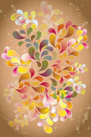 Inspiration and imagination - various colorful see-through retro shapes on brown shimmering background
