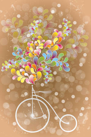 Abstract illustration of retro bicycle, colorful shapes and transparent circles on warm brown vintage background Stock Illustratie