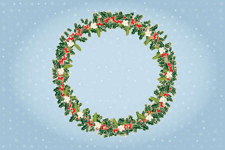 Advent wreath made by branches of mistletoe and holly above blue shimmering background