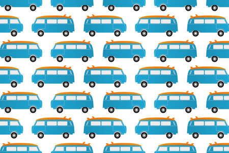 Seamless pattern of a surfers camper van isolated on white background for printing on fabric or other materials