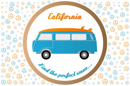 Peace signs and surfers van with words California and Find the perfect wave - as poster or print useful for designer  イラスト・ベクター素材