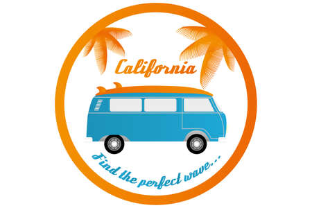 Surfers camper van with palm leaves and text California and Find the perfect wave - isolated on white for print on t-shirts Stock Illustratie
