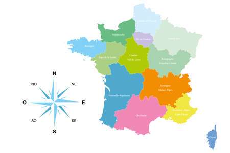 Detailed map of the 13 regions of France - reformed - editable colored illustration and useful for designers Illustration