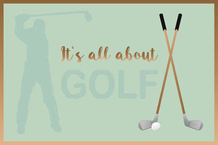All about golf - retro golf poster with isolated design elements and text for various uses