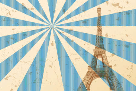 Postcard of Paris with Eiffel tower and retro design elements -  illustration made with 3 colors in different nuances