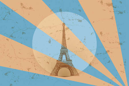 Retro Eiffel tower - poster in classic old design with blue and brown geometric design elements and grunge