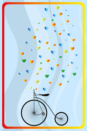Retro bicycle with hearts in rainbow colors on translucent waves - hand drawn vector illustration Stock Illustratie