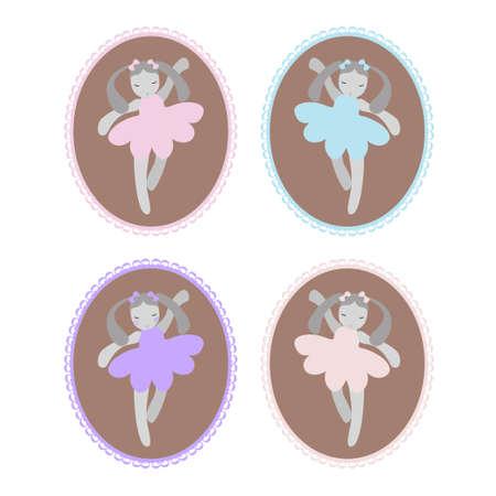 Cute dancing bunny ballerinas cartoon hand drawn vector illustration. Can be used for t-shirt print, kids wear fashion design, baby shower invitation card.