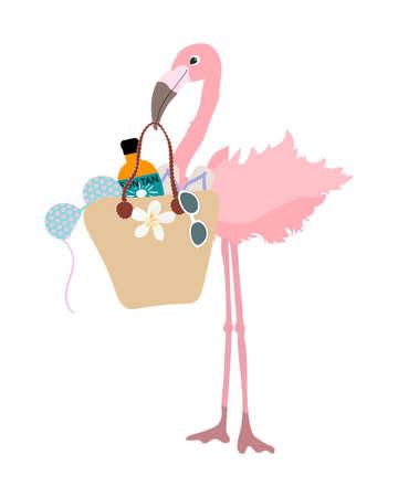 Beautiful pink fashionable flamingo goes shopping on white background vector isolated Illustration