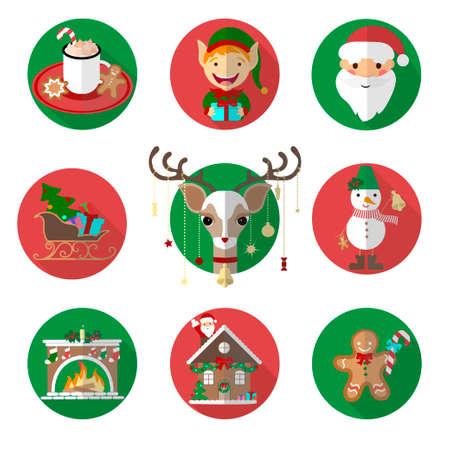 Conjunto de iconos y elementos de Navidad ilustración vectorial, diseño gráfico. Para web, sitios web, impresión, plantillas de presentación, aplicaciones móviles y materiales promocionales