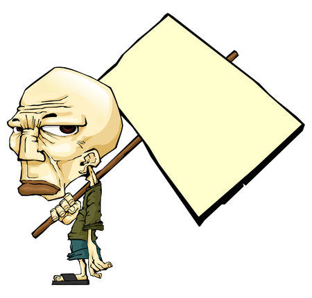 upset man: The poor old man with a blank board, The illustration style of the japan sketch (manga) Illustration