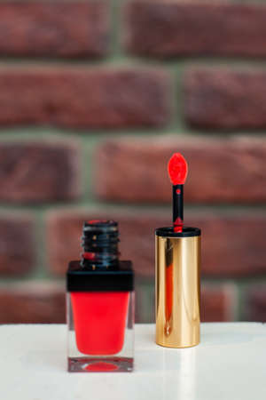 Opened coral multi-functional tint for everyday makeup. Especially for cheeks and lips. 2 in1 beauty musthave. Luxury cosmetic brand. Close up.